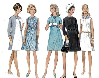 60s Shift Dress Pattern Butterick 5307 Diagonal Seams A Line Shift Vintage Sewing Pattern Size 12 Bust 34 inches