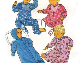 Baby Bunting Sleep suit & Dress Pattern Style 4520 1980s Sewing Pattern Size 6 months