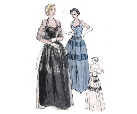 RARE 50s Halter Evening Cocktail Dress By Allthepreciousthings