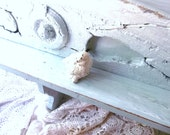 Sea Mist. Beach House Mantel. Rustic Wall Shelf. Antique Architectural Wood Shelf
