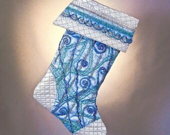 "Beaded ""Blue Splendor"" Christmas Stocking w Silver Quilting"