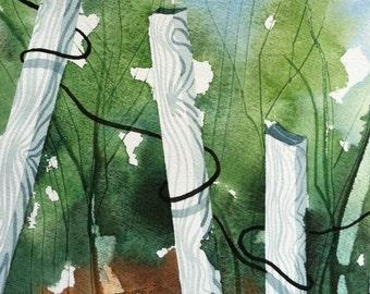"Original watercolor, landscape, ""Fanciful Fence"""