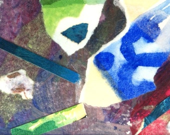 Original art mixed media collage small collage dynamic blue green red