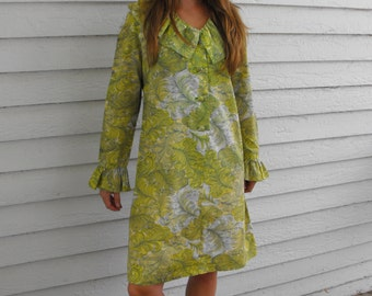 60s Green Print Hippie Dress Ruffle Mod Long Sleeves Vintage L XL