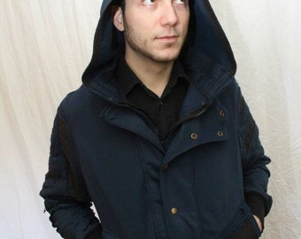 Navy Blue steampunk style jacket, with hood and black accents