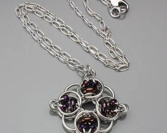 Chainmaille Pendant- Celtic Diamond- Chainmaille with glass- Aluminum/Purple Bronze