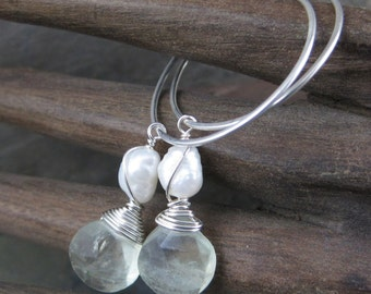 Green Flourite and Pearl Charm Dangles - Sterling Silver Hoop Earrings