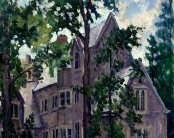Shady Corner, Princeton University. Oil Painting Landscape, 11x14 Plein Air Impressionist Oil on Panel, Signed Original Fine Art