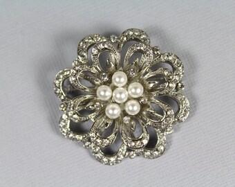 Pearl Bridal Brooch, Vintage Style Wedding Brooch, Crystal Brooch, Pearl Brooch