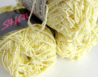 Nubby Cotton Novelty Yarn - 5 Skeins Shadows by Knitting Fever - Pale Yellow (Vintage)