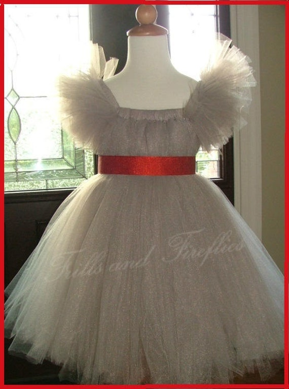 Silver Grey Flower Girl Tutu Dress with Red Satin Sash and Sleeves Also Great Party Dress, Birthdays, Ask about other color Tulle and Sashes