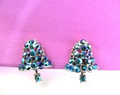 Vintage 50s Earrings Festive AB Rhinestone Bells by Dodds Articulated - on sale