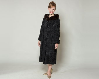 Vintage 1960s Black Fur Coat - Persian Lamb Broadtail - Sable Collar Winter Fashions