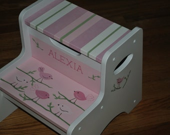 New For 2016-Kids Step Stool-Bye Bye Birdie-Childrens Step Stool-Hand Painted- Girls Step Stool-Baby Shower-Kids' Furniture-Chair-Baby Gift