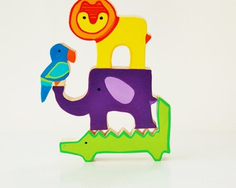 Zooble Bright and Wild Jungle Animals - Balance Game - Wooden Toy - Wood Stacking Toy Stacking Puzzle - Unique Gift