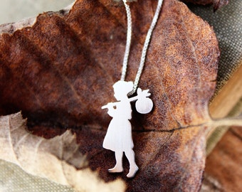 Tiny Runaway Girl, sterling silver necklace tiny hand cut pendant.