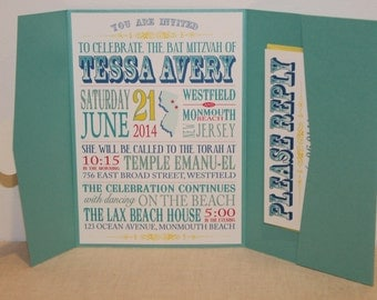 Fun House Bat Mitzvah Invitation