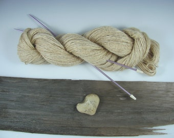 Handspun Hemp Fiber Yarn Eco-Friendly Rustic Natural Vegan, Knitting and Crocheting, Textile Craft Supply , 2 Ply, Simple Neutral