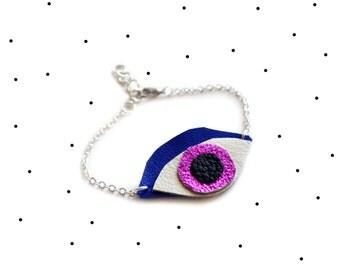 Leather Bracelet, Eye Charm Bracelet, Metallic Pink and Electric Blue, Minimalist Jewelry, Geometric Stacking Bracelet