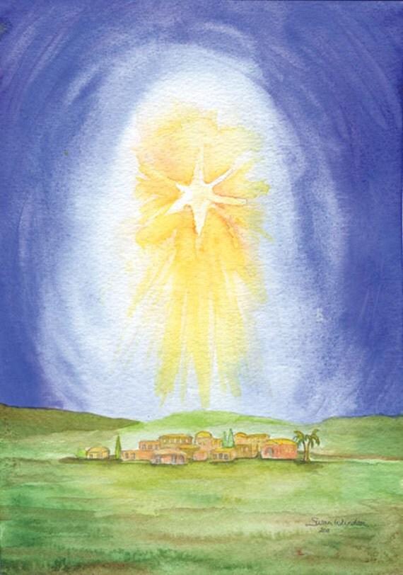 Christmas Cards Star Over Bethlehem Set of 10 - Watercolor Christmas