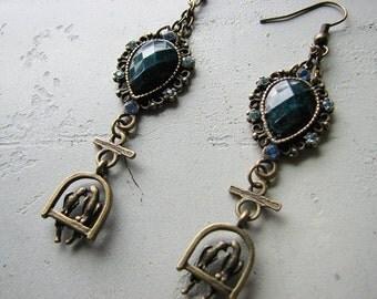 Rhinestone dangle earrings | blue teardrop | love birds | drop