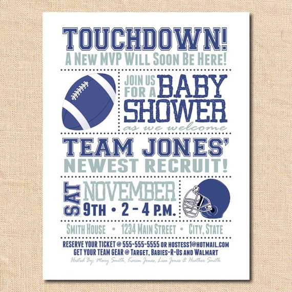 items similar to baby shower invitation card football card for boy
