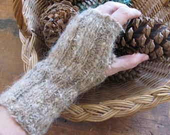 Wrist Warmers, Natural Brown Handspun Hand Knit Alpaca Wool Blend Yarn Fingerless Gloves, Winter Hand Warmers, Woodland Rustic Accessories