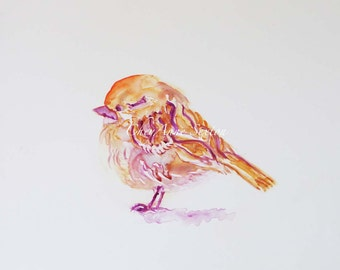 Sparrow bird Art on Yupo treeless paper - Sweet little field sparrow WaterColour  ORIGINAL watercolor on Yupo Paper - 5x7