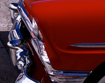 Old 1956 Chevrolet Belair 4 door Red white shiny Fine Art Home Decor photograph giclee 8x10 11x14