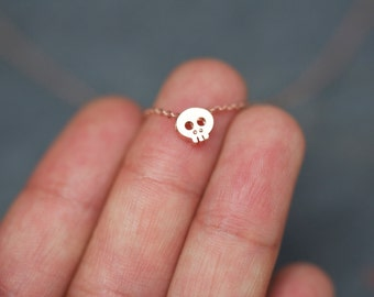 ROSE GOLD Tiny Skull charm necklace on dainty rose gold chain, dainty pink skull necklace