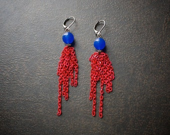 Cobalt Blue Jade Earrings with Vivid Red Raspberry  Chain Dangles