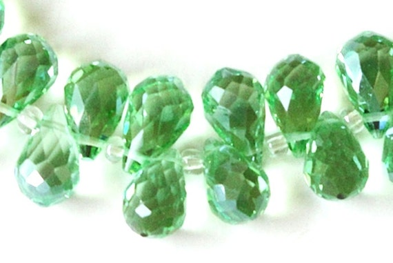 Green Faceted Quartz Briolettes Crystal Beads, 18mm x 10mm,  Top Drilled Crystal Briolettes for Jewelry Making,  (8) Beads