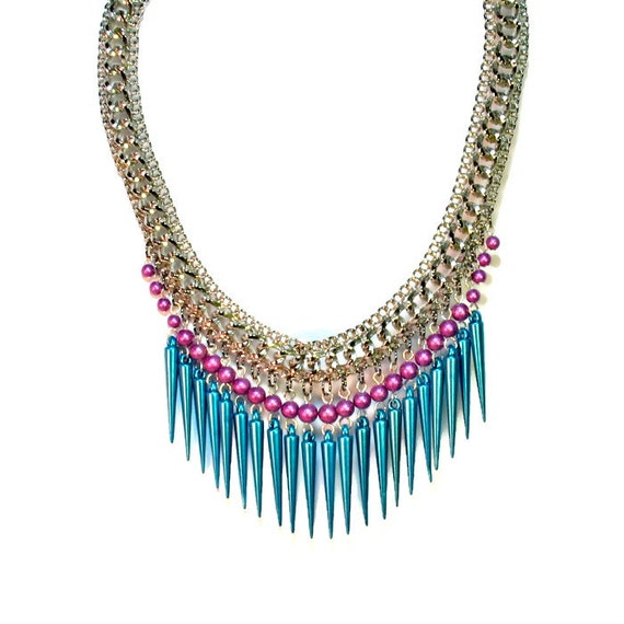 Unique Colorful Repurposed Spiked Statement Necklace, Turquoise, Fuchsia, Upcycled Jewelry, Necklace Earring Set with Spikes