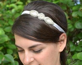 Rhinestone flower girl headband, tiny diamante bridal headband, sparkly flower wedding headband, crystal girls hairband