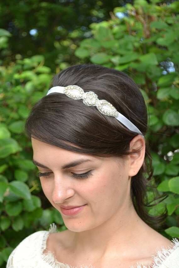 Rhinestone flower girl headband, tiny diamante bridal headband, sparkly flower wedding headband, crystal girls hairband