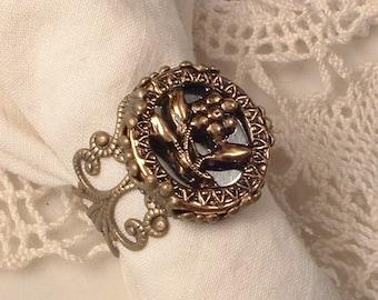 Vintage Victorian Filigree Picture Button Ring, Mirrored Steel Pierced Flower Button Adjustable Antique Brass Bronze Assemblage Jewelry