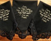 Embroidered Wedding Handkercheifs, Set of Three, BLACK LACE, By Canyon Embroidery