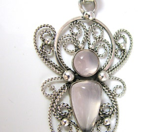 "Rose Quartz & Sterling Silver Filigree Pendant ""The Messenger"""