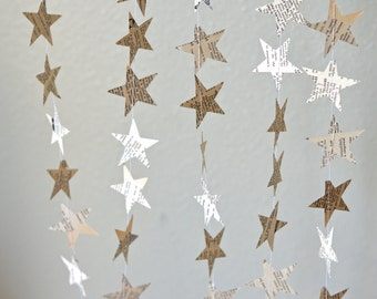 Stars Garland - vintage book paper stars banner, choose from 10, 12, 15, 20 or 30 feet long