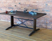Reclaimed Industrial table  Resawn Douglas Fir vintage cast iron