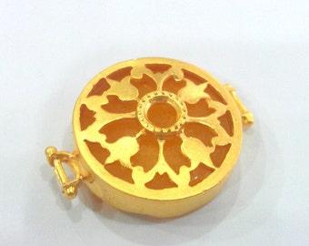 28 mm  Yellow Pendant Connectors , Gold Plated Brass Bezel  G1156