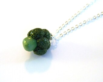 Broccoli Pendant Necklace - Silver Plated Chain - Handmade with Polymer Clay - Fashion Statement Jewelry - Gifts Under 10, 15, 20