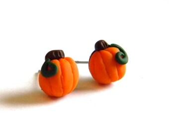 Halloween Fall Jewelry- Pumpkin Post Earrings on Surgical Steel Ear Studs - Handmade - Gifts Under 10, 15, 20