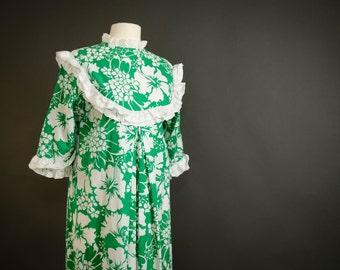 vintage augustine couture long hibiscus hawaiian hula papeete tahiti betty dress