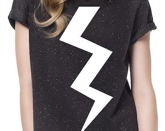 Hand printed Lightning Bolt womens Black T-shirt