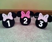 Minnie Mouse Head Table Number Centerpieces - Set of 5+ - You choose the bow color