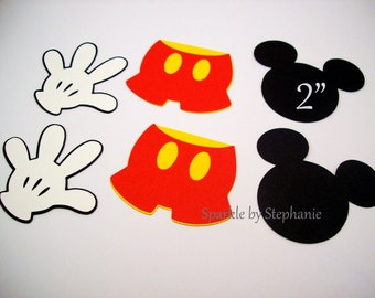 Mickey Mouse Die Cuts - Set of 12+ - Mickey Head, Pants & Gloves - 2""