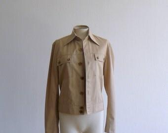 Vintage 1970s cotton jacket. 70s deadstock beige safari jacket