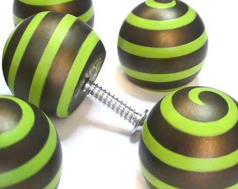 CABINET HARDWARE 1.50 in. Ball Style Spiral Cabinet Knob Drawer Pull Bronze & Chartreuse Cabinet Pull