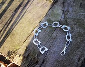 Chain Link Bracelet, Lightweight, Mixed Metal, Recycled Ring-Pulls, Can Pulls, Aluminium with Handmade Zinc Steel Chain Links